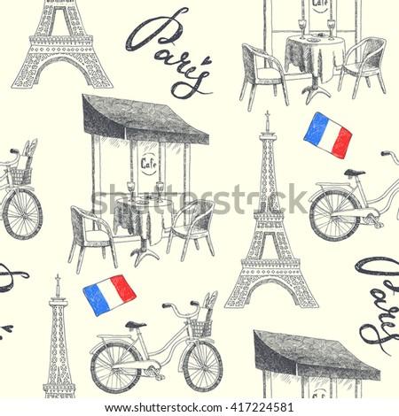 paris symbols. seamless pattern ...