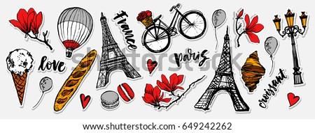 Paris symbols stickers set. Romantic travel in Paris. Baguette, croissant, ice cream, macarons. Magnolia blossom. Embroidery design. Tourism souvenir. Eiffel Tower.