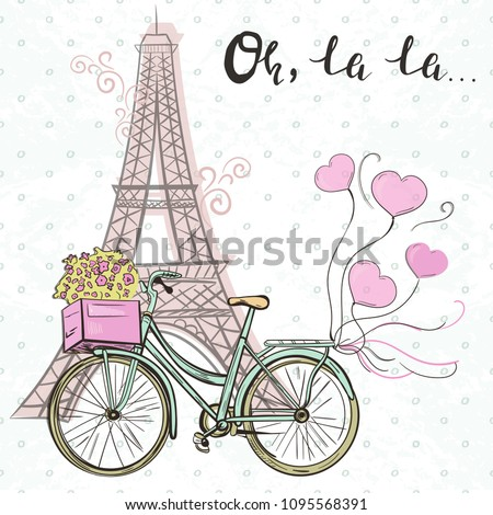 Paris themed template with Eiffel tower and cute bike with ballooons and text oh, la la