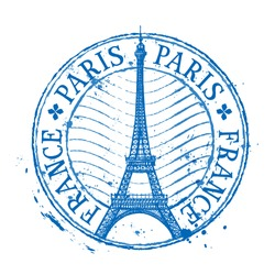 Paris vector logo design template. Shabby stamp or France, Eiffel tower icon