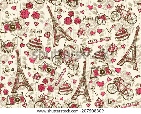 Paris vintage background. Seamless vector pattern.