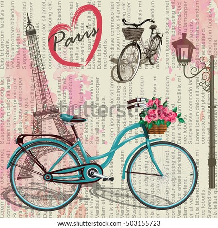 Paris vintage poster.Newspaper background.
