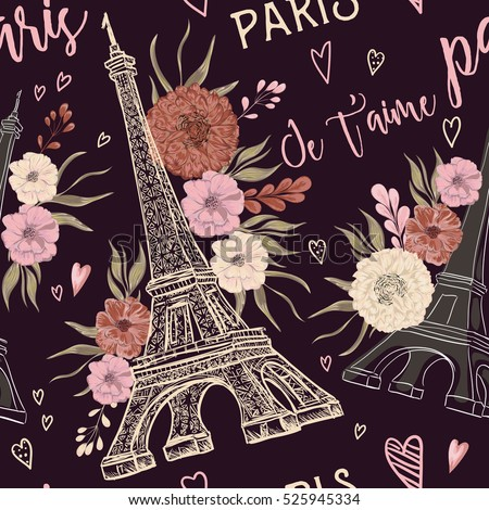 paris vintage seamless pattern