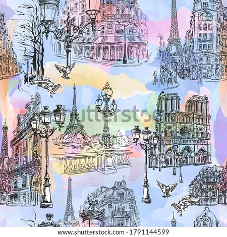 paris   watercolor seamless