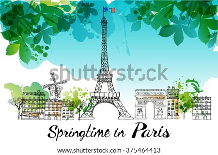 paris watercolor vector