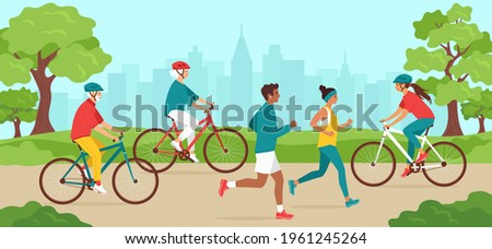 Park activities. Elderly and young men and women of different nationalities, in sportswear, jogging or cycling. Outdoor sports training for cyclists and runners. Healthy lifestyle. Vector illustration Stock foto ©