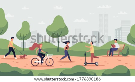 Park activities. Outdoor sport workout and healthy lifestyle, people running, riding bicycle and jogging, park activities vector illustration. Park activity, runner and workout, jogging exercise