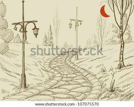 Park alley vector sketch
