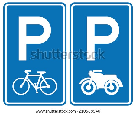 park area sign for bicycles and