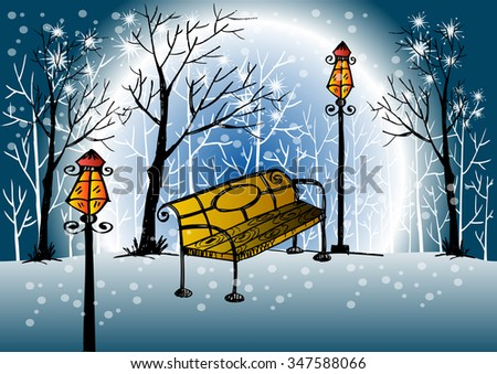 park bench and trees covered by