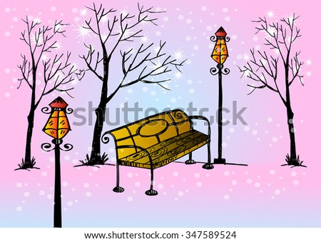 park bench lamp and trees