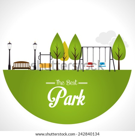 Park design over white background, vector illustration.