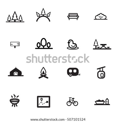 park garden camp line flat icon