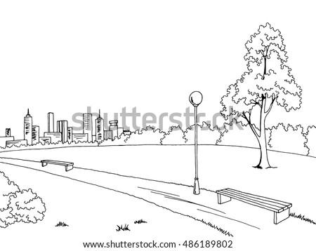 Park graphic art black white bench lamp landscape sketch illustration vector