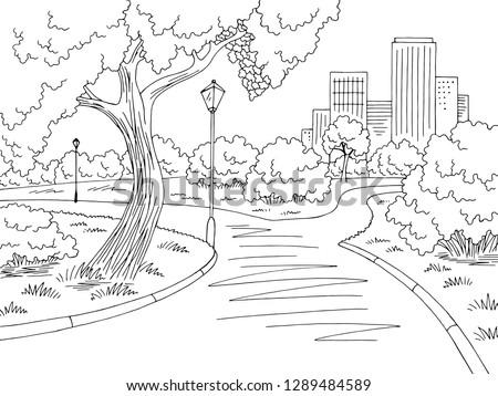 Park graphic black white landscape sketch illustration vector