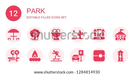 park icon set collection of 12