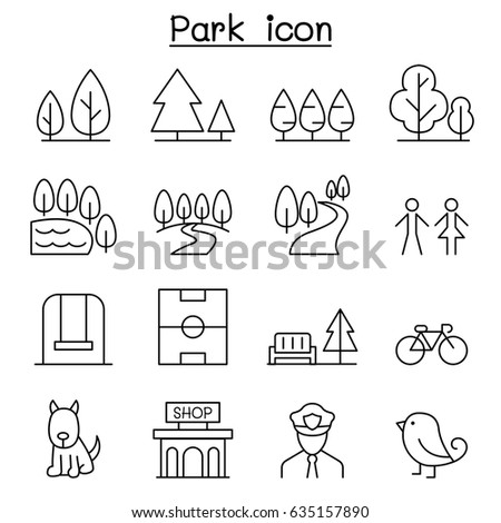 Park icon set in thin line style