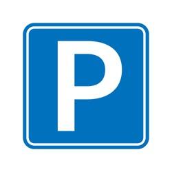 Park icon sign, road symbol. Parking public icon street place.