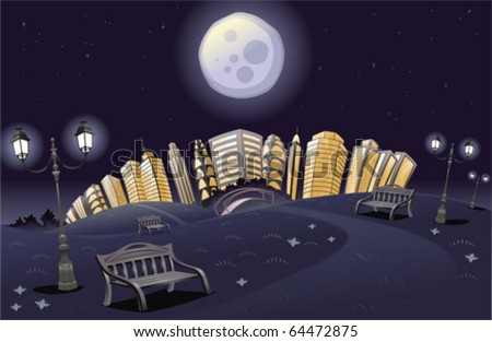 park in the night cartoon and