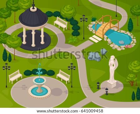 park landscape isometric design