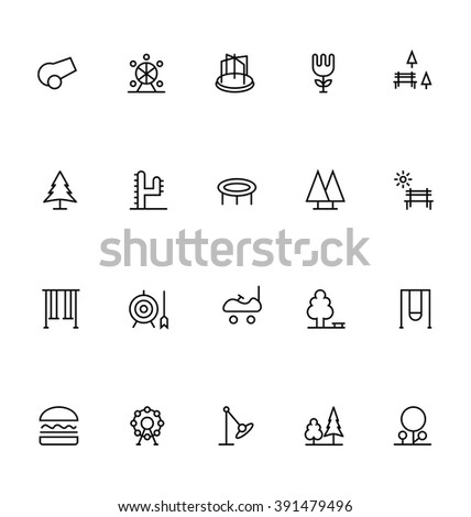 park line vector icons 2