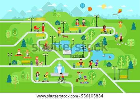 Park map infographic elements in flat vector design. People spend time relax in nature. Men, women and children rest in the park, jog, ride the bicycle, skateboard. Park map with tree, lamp, bench.