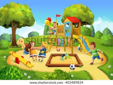 Park, playground vector background