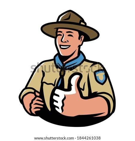 Park ranger in uniform. Scout, camping symbol vector illustration Stock photo ©