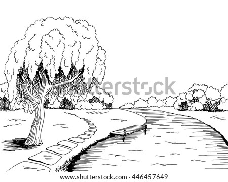 park river willow tree graphic
