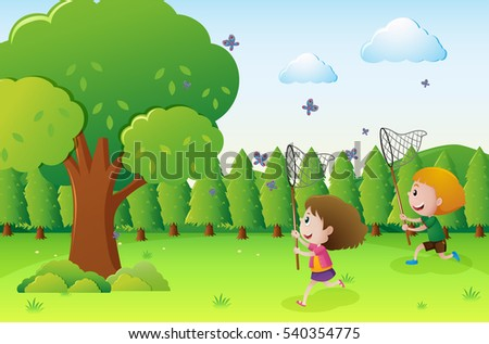 park scene with two kids