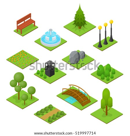 park set isometric view design