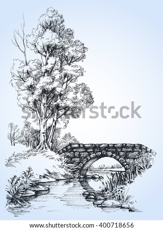 park sketch  a stone bridge