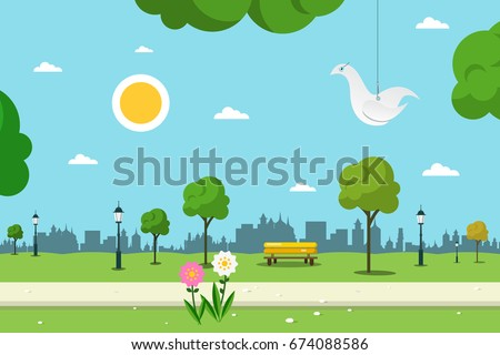 Park. Vector Nature Landscape. Empty Urban Garden.