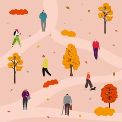 Park walking. People in autumn outfit outdoor activities. Fall orange red tree, leaves vector illustration