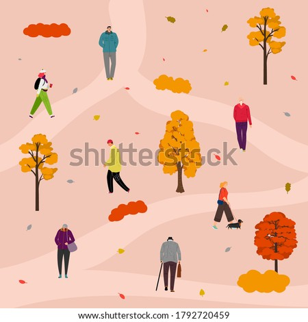 park walking people in autumn