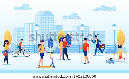 Park with Different People Flat Cartoon Vector Illustration. Man Moving on Scooter, Boy Riding Bicycle. Girl Walking with Dog. Businessman Hurrying up. Couple Spending Time Together. stock photo