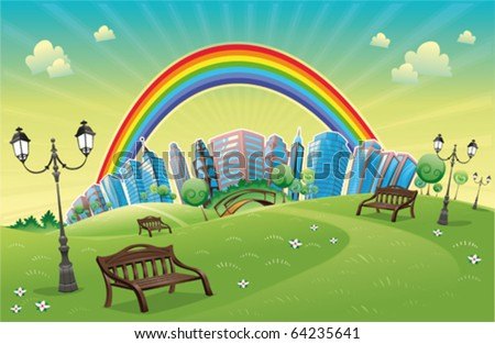 Park with rainbow. Funny cartoon and vector scene.
