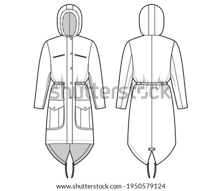 Parka coat technical fashion illustration with faux fur hood, long sleeves, fitted body, knee length, flap pockets. Flat jacket template front, back, white color style. Women men unisex top CAD mockup Сток-фото ©