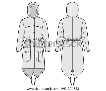 Parka coat technical fashion illustration with faux fur hood, long sleeves, fitted body, knee length, flap pockets. Flat jacket template front, back grey color style. Women, men, unisex top CAD mockup Сток-фото ©