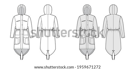 Parka coat technical fashion illustration with faux fur hood, long sleeves, fitted body, knee length, flap pockets. Flat jacket template front, back, white, grey color style. Women, men top CAD mockup Сток-фото ©