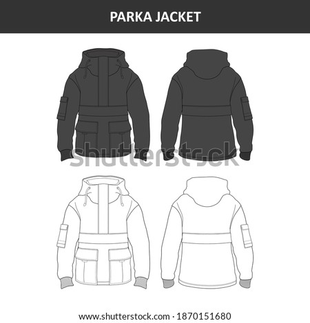 Parka Jacket Black and White Design for Commercial Use Сток-фото ©