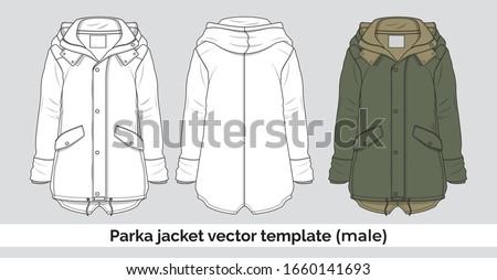 Parka jacket vector template for men Сток-фото ©