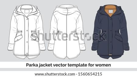 Parka jacket vector template for women Сток-фото ©