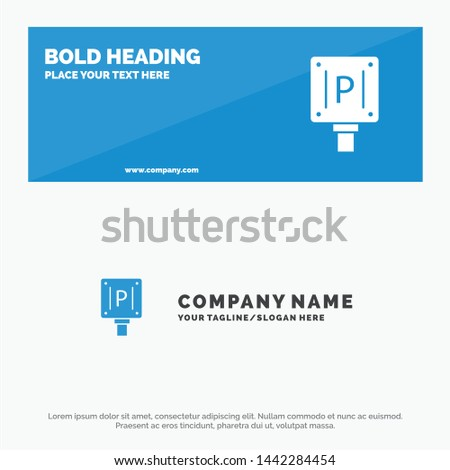 Parking, Board, Sign, Hotel SOlid Icon Website Banner and Business Logo Template