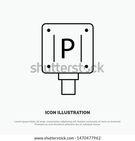 Parking, Board, Sign, Hotel Vector Line Icon. Vector Icon Template background