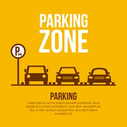 Parking design over yellow background, vector illustration.