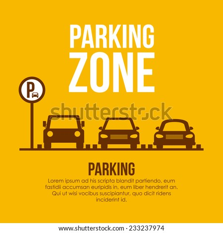 Shutterstock Parking design over yellow background, vector illustration.