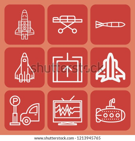 Parking, elevator, televisions, submarine, space shuttle, space shuttle, stretcher icon set suitable for info graphics, websites and print media and interfaces