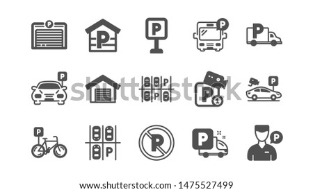 Parking icons. Garage, Valet servant and Paid parking. Car transport park place classic icon set. Quality set. Vector