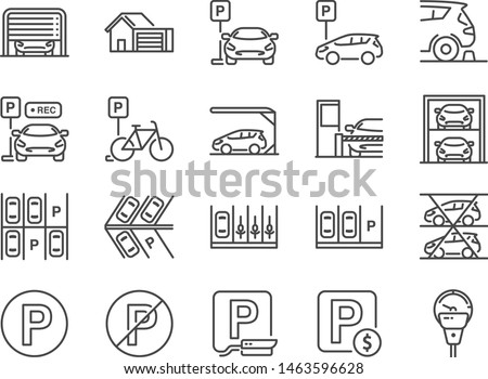 parking line icon set included